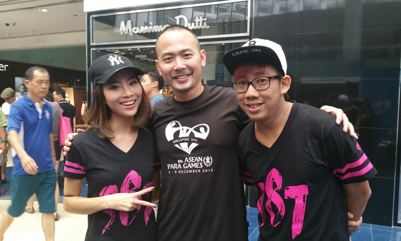 Sports Event Emcee Winston Wei together with Sonia Chew and Boy Thunder - Gerald Koh from 98.7 FM at the Asean Para Games